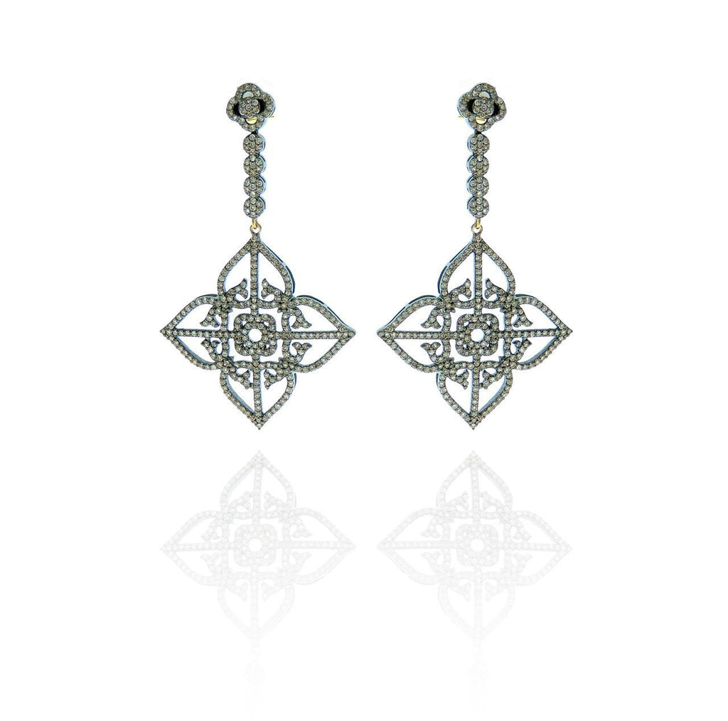 Pave Diamond And Silver Earring