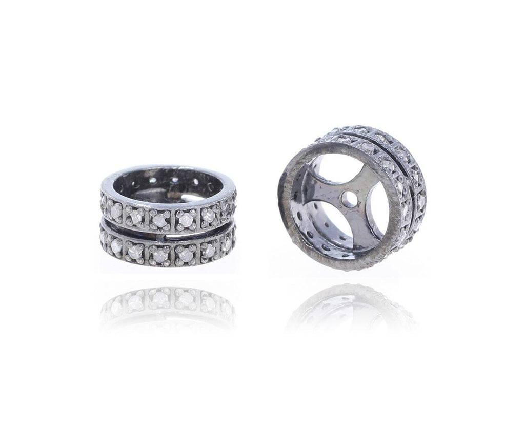 Silver and Diamond Pave  Roundel Beads