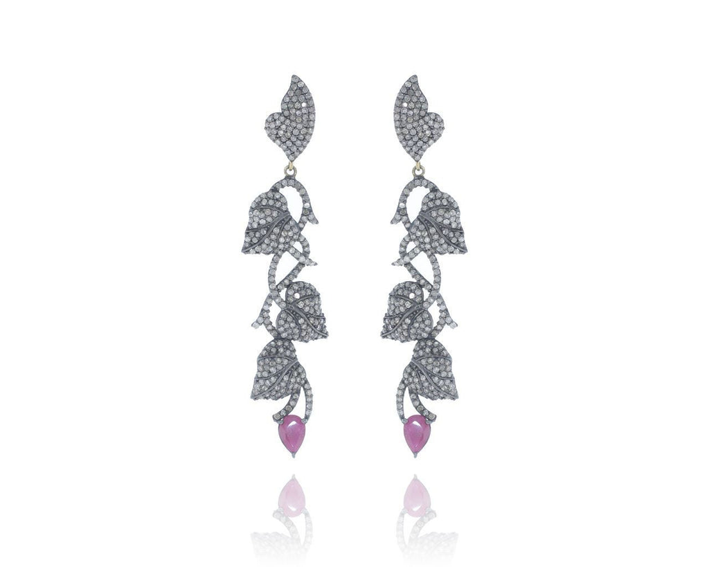 Silver and Diamond Pave  EARRINGS