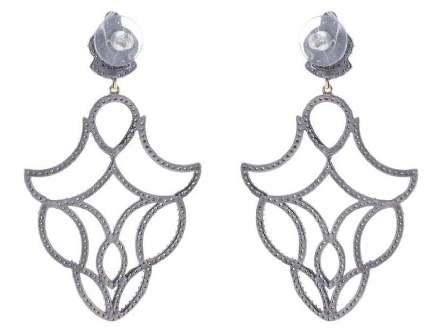 DESIGNER EARRING STERLING SILVER WITH DIAMOND AND RUBY