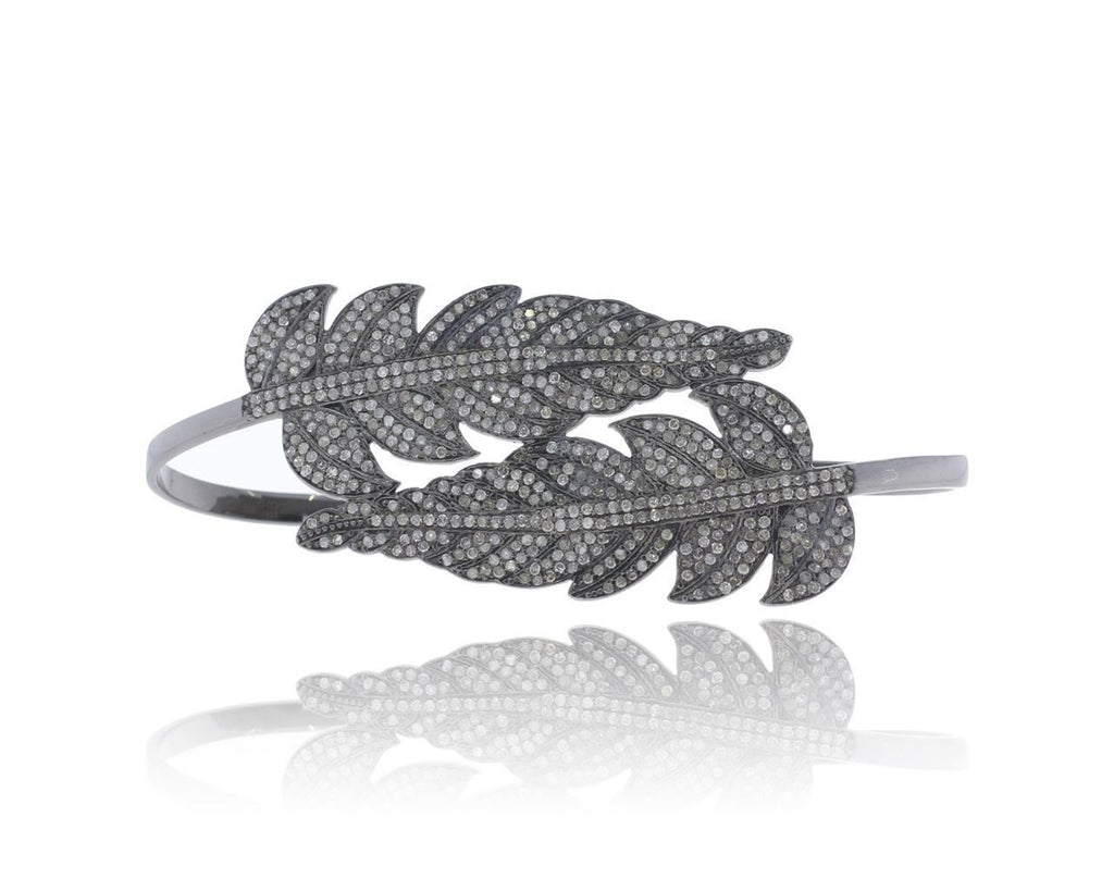LEAF SHAPE MICRO PAVE DIAMOND PALM BANGLE-Precious Stones & Jewelry