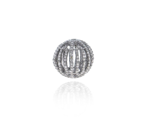 Silver and Diamond Pave  Pave Beads