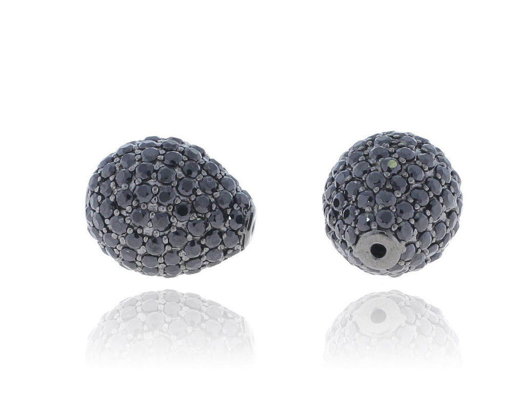 Black Spinel Drop shape Pave Beads