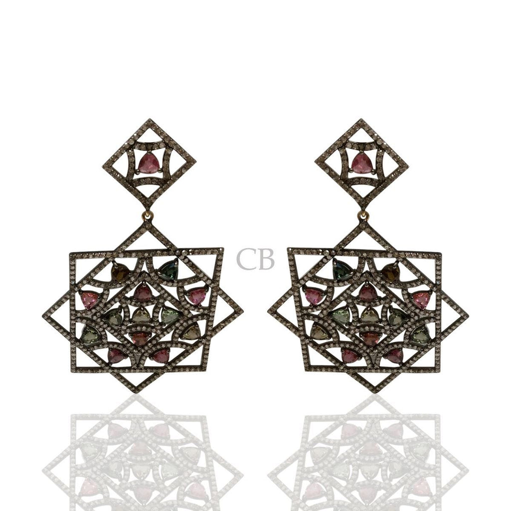 Diamond and Multi Tourmaline Black Rhodium Finish Earrings