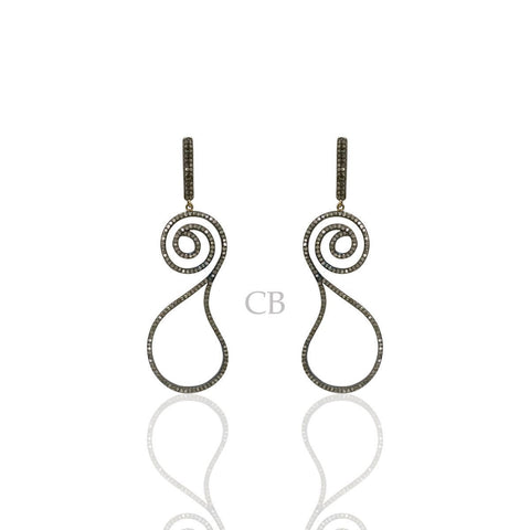 Diamond and Silver Black Rhodium Finish Earring
