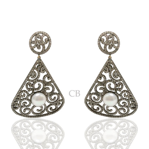 Silver and Diamond Pave  EARRINGS.
