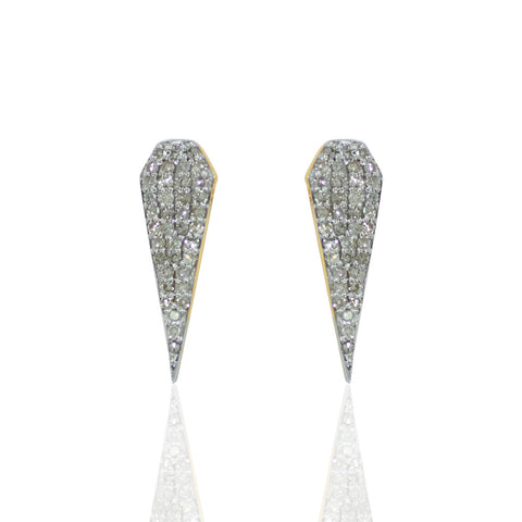 14k Solid Gold and Diamond Spike Earring