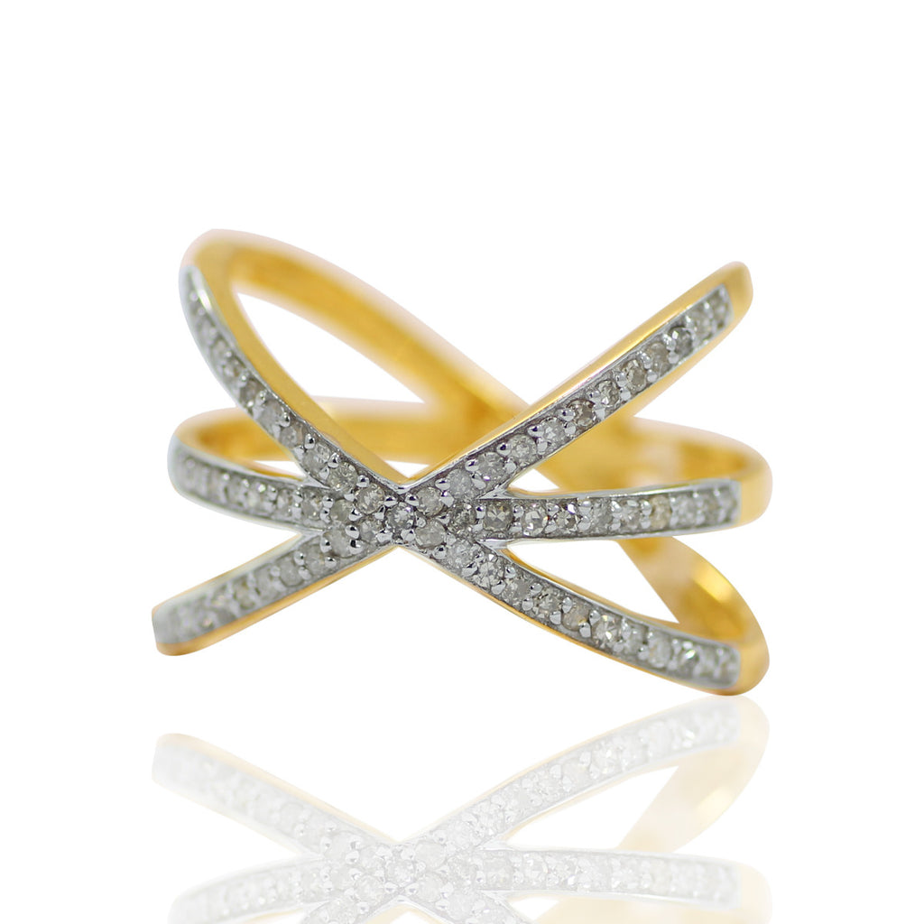 14k Solid Gold and Diamond X Shape Ring