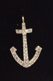 "14K Solid Gold Anchor Diamond Pendants. Genuine handmade pave diamond Pendant. Approx Size 0.92 ""(12 x 23 mm)"