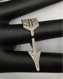 "14k Solid Gold Arrow Diamond Rings. Genuine handmade pave diamond Rings. Approx Size 0.72 ""(10 x 35 mm)"