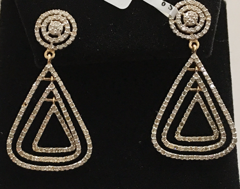 "14k Solid Gold Diamond Earrings . Genuine handmade pave diamond Earrings . Approx Size 1.60 ""(40 x 20 mm)"