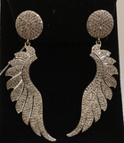 "14k Solid Gold Wings Diamond Earrings . Genuine handmade pave diamond Earrings . Approx Size 2.40 ""(40 x 16 mm)"