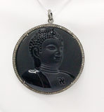 "Buddha Diamond Pendant .925 Oxidized Sterling Silver Diamond Pendant, Genuine handmade pave diamond Pendant Size 2.20""(55 mm)"