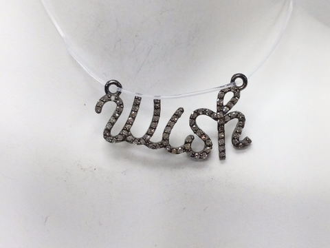 "Wish Diamond Pendant .925 Oxidized Sterling Silver Diamond Pendant, Genuine handmade pave diamond Pendant Size 1.12""(14 x 28 mm)"
