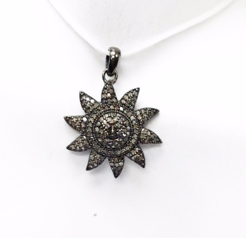 "Sun Burst Diamond Pendant .925 Oxidized Sterling Silver Diamond Pendant, Genuine handmade pave diamond Pendant Size 0.96""(24 mm)"