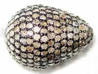 Drop Shape Silver Pave Diamond Beads