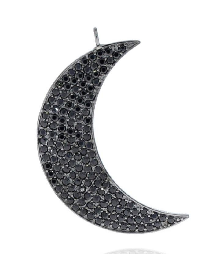 Black Spinel Crescent Moon Pendant