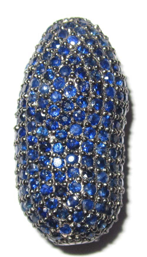 Blue Sapphire Nugget Long Oval Pave Beads
