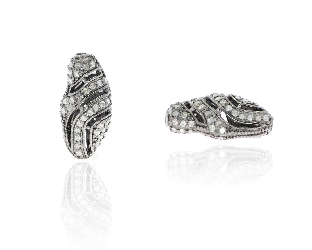 Long Nugget Shape Filigree Design Silver Pave Diamond Beads