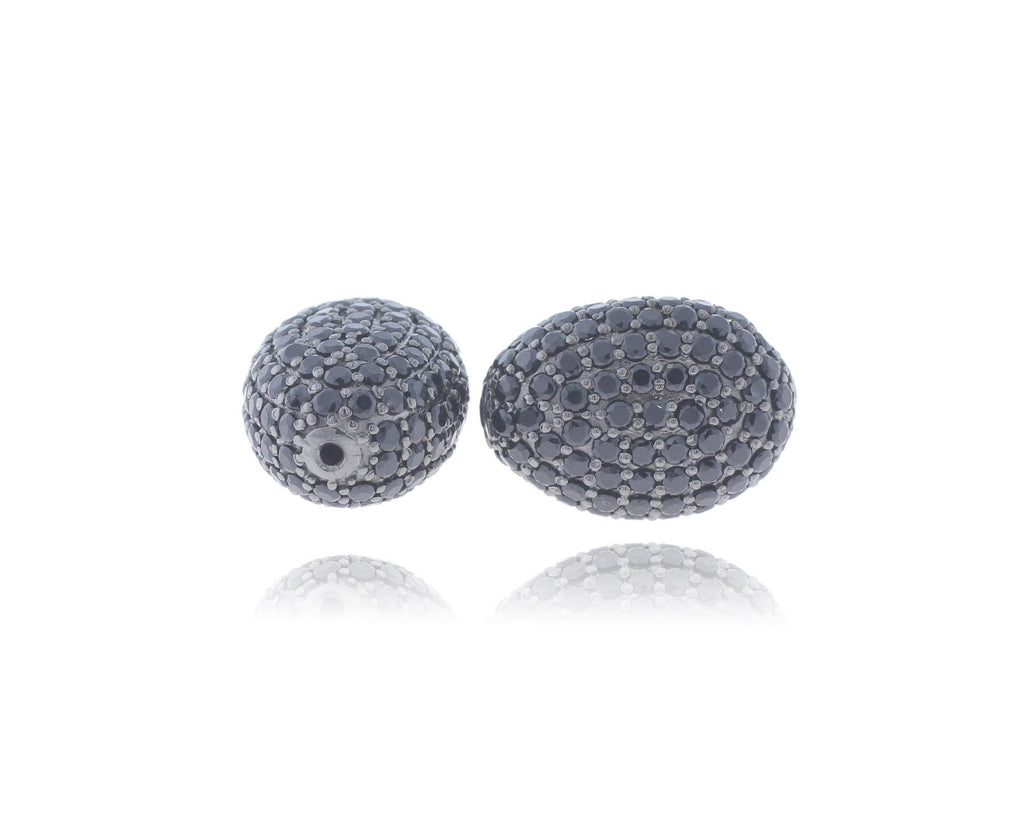 Oval Shape Sterling Silver Pave Beads