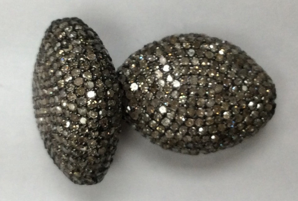 "Nugget Diamond Bead .925 Oxidized Sterling Silver Diamond Beads, Genuine handmade pave diamond Beads Size Approx 0.48""(7 x 12 MM)"