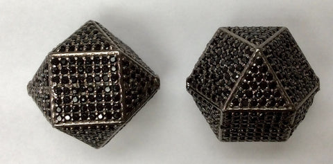 Cube Black Spinel Bead