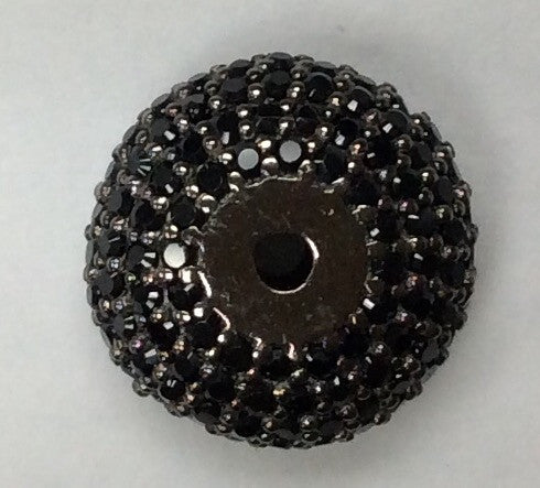 Roundel Shaped Black Spinel Bead