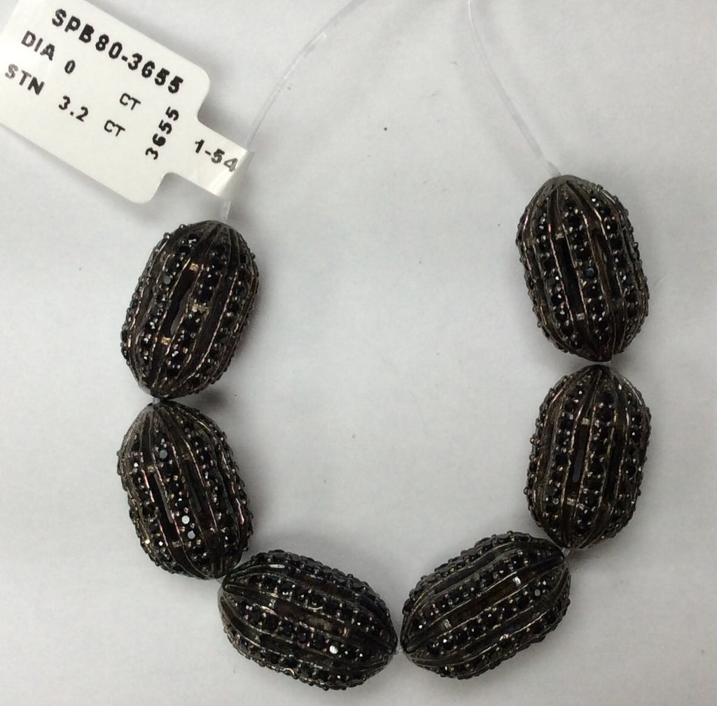 Oval Shaped Black Spinel Bead