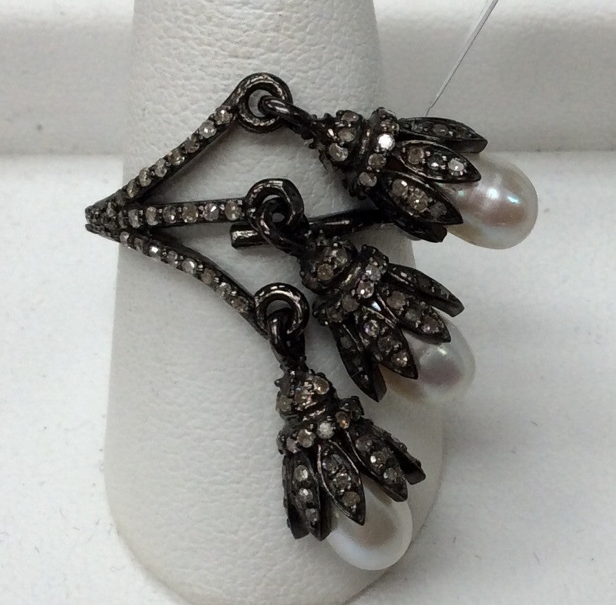 Diamond and Pearl Silver Black Rhodium Finish Rings