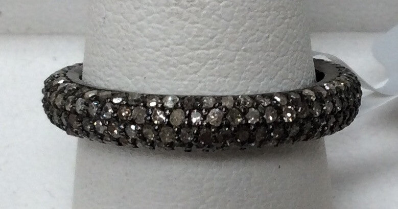 "Pave Diamond Ring .925 Oxidized Sterling Silver Diamond Ring, Genuine handmade pave diamond Ring Size Approx 0.92""(4 x 23 MM)"