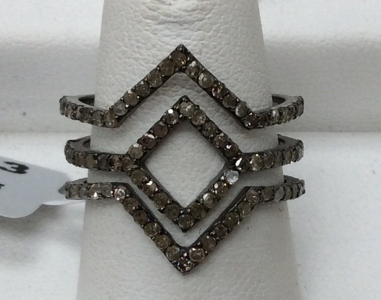"Pave Diamond Ring .925 Oxidized Sterling Silver Diamond Ring, Genuine handmade pave diamond Ring Size Approx 0.84""(18 x 21 MM)"