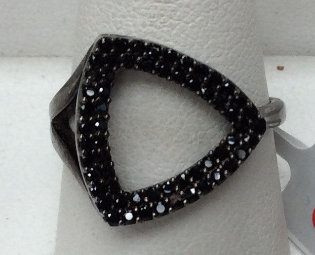 Triangle Black Spinel Ring