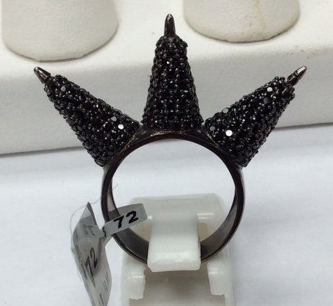 Black Spinel and Silver Black Rhodium Finish Rings