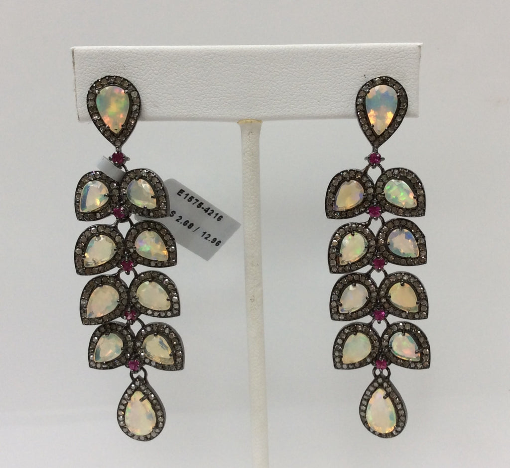 "Opal & Diamond Silver Earring .925 Oxidized Sterling Silver Diamond Earring, Genuine handmade pave diamond Earring Size 2.80""(19 x 70 MM )"