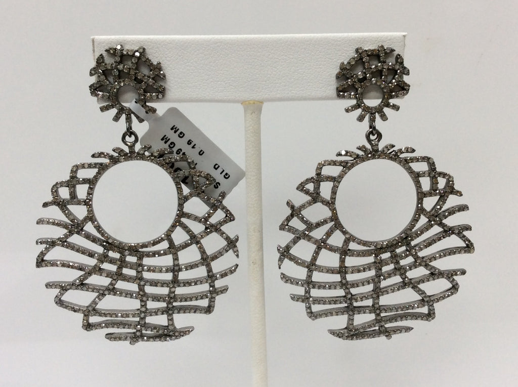 "Roundel Diamond Silver Earring .925 Oxidized Sterling Silver Diamond Earring, Genuine handmade pave diamond Earring Size 2.60""(43 x 65 MM )"