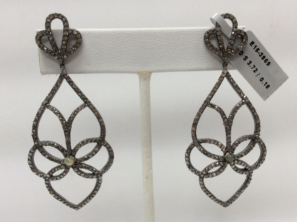 "Diamond Silver Earring .925 Oxidized Sterling Silver Diamond Earring, Genuine handmade pave diamond Earring Size 2.60""(28 x 65 MM )"