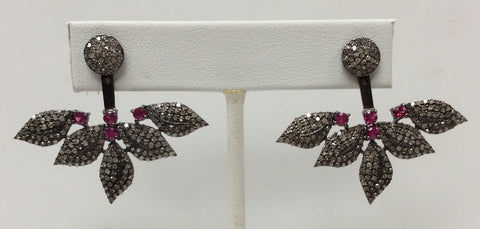 "Flower Diamond Silver Earring .925 Oxidized Sterling Silver Diamond Earring, Genuine handmade pave diamond Earring Size 1.56""(32 x 39 MM )"