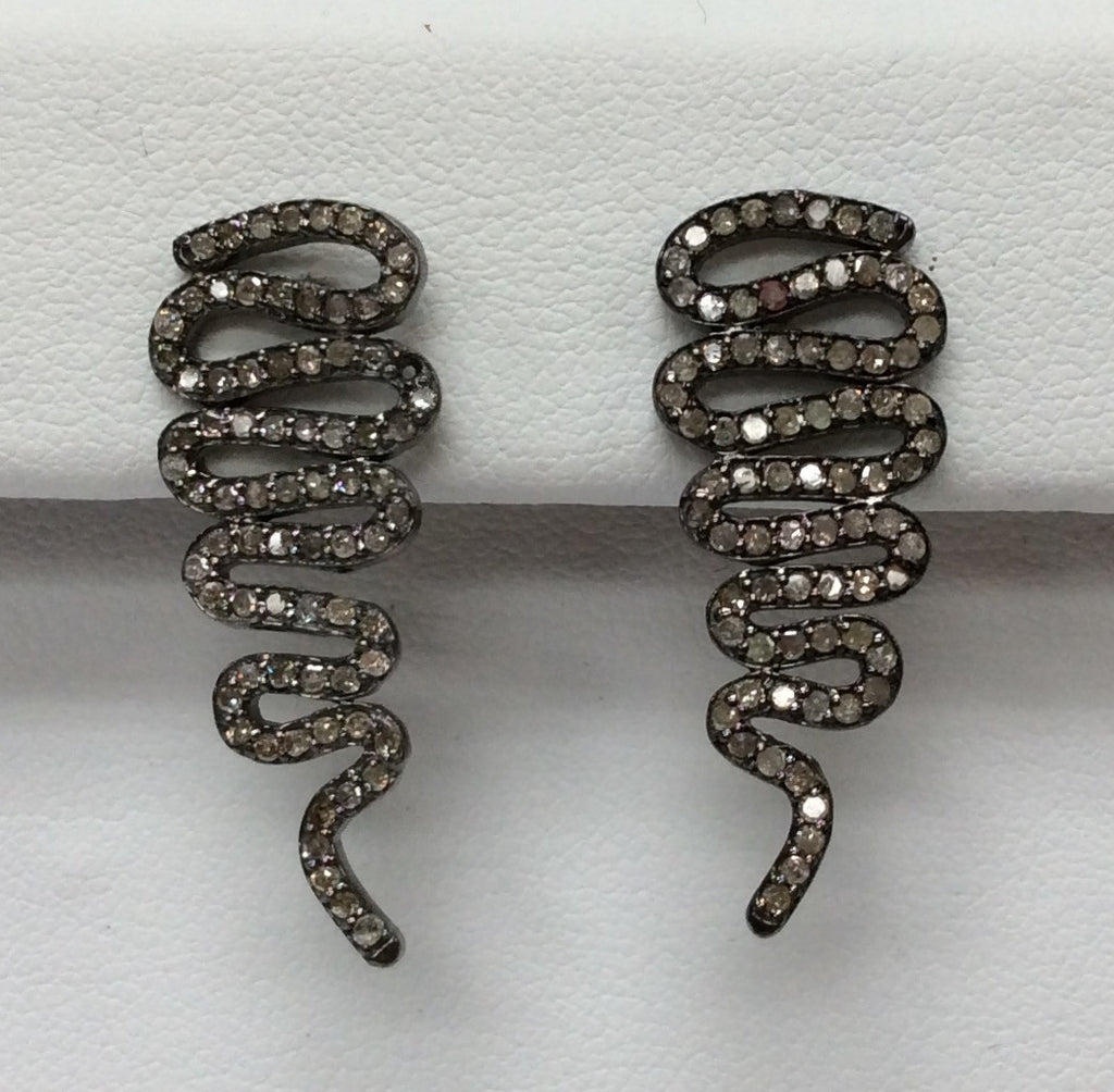 "Snake Diamond Silver Earring .925 Oxidized Sterling Silver Diamond Earring, Genuine handmade pave diamond Earring Size 1.16""(12 x 29 MM )"