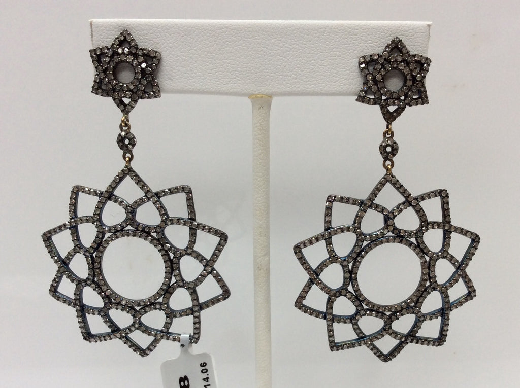 "Diamond Silver Earring .925 Oxidized Sterling Silver Diamond Earring, Genuine handmade pave diamond Earring Size 2.64""(41 x 66 MM )"