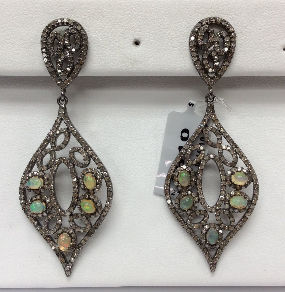 "Opal Diamond Earring .925 Oxidized Sterling Silver Diamond Earring, Genuine handmade pave diamond Earring Size 2.48""(23 x 62 MM )"