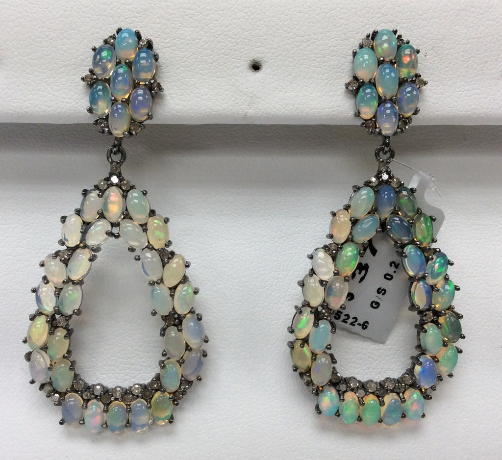"Opal Diamond Earring .925 Oxidized Sterling Silver Diamond Earring, Genuine handmade pave diamond Earring Size 2.24""(26 x 56 MM )"