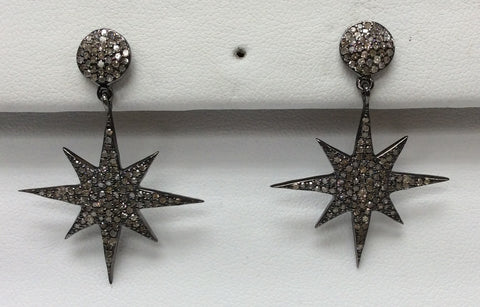 "Star Diamond Earring .925 Oxidized Sterling Silver Diamond Earring, Genuine handmade pave diamond Earring Size 1.52""(27 x 38 MM )"