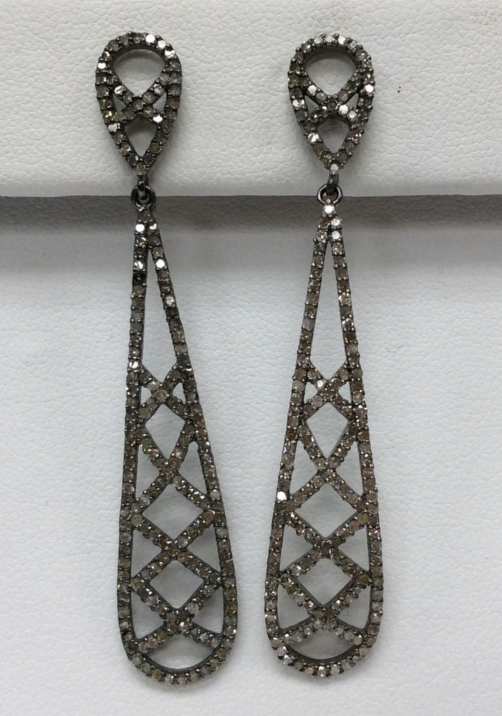 "Diamond Silver Earring .925 Oxidized Sterling Silver Diamond Earring, Genuine handmade pave diamond Earring Size 2.40""(11 x 60 MM )"