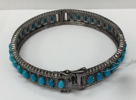 Diamond And Natural Sleeping Beauty Turquoise Bangle, Oxdized Silver,Approx 0.45''(11mm) wide