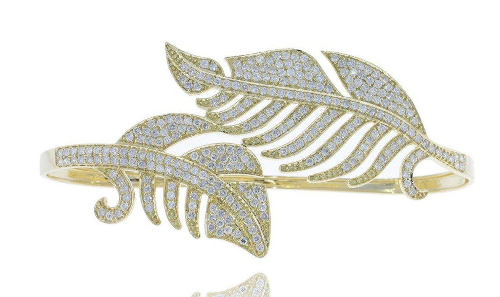 DIAMOND DESIGNER PALM BANGLE-Precious Stones & Jewelry