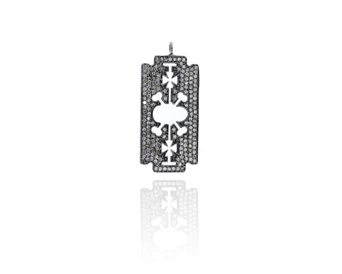 Diamond Blade Diamond Pendant, Pave Diamond Pendant, Blade Necklace, Approx 40 x 17mm. Sterling Silver