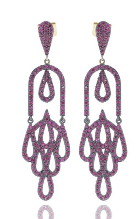 Sterling Silver Pave Designer Earring with Diamond and Ruby