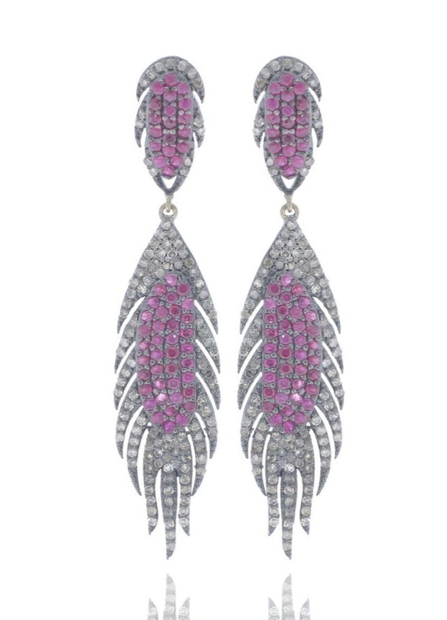 DESIGNER STERLING SILVER PARTY EARRING WITH DIAMONDS AND RUBY