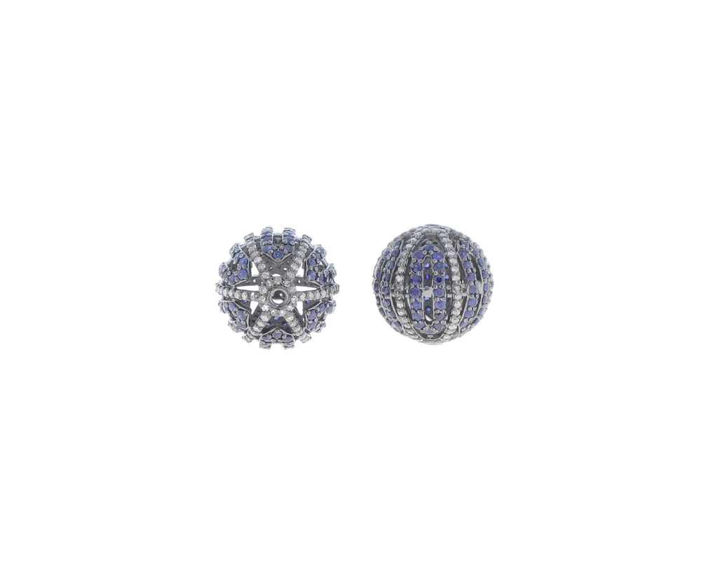 Round Designer Silver Pave Diamond and Blue Sapphire Beads