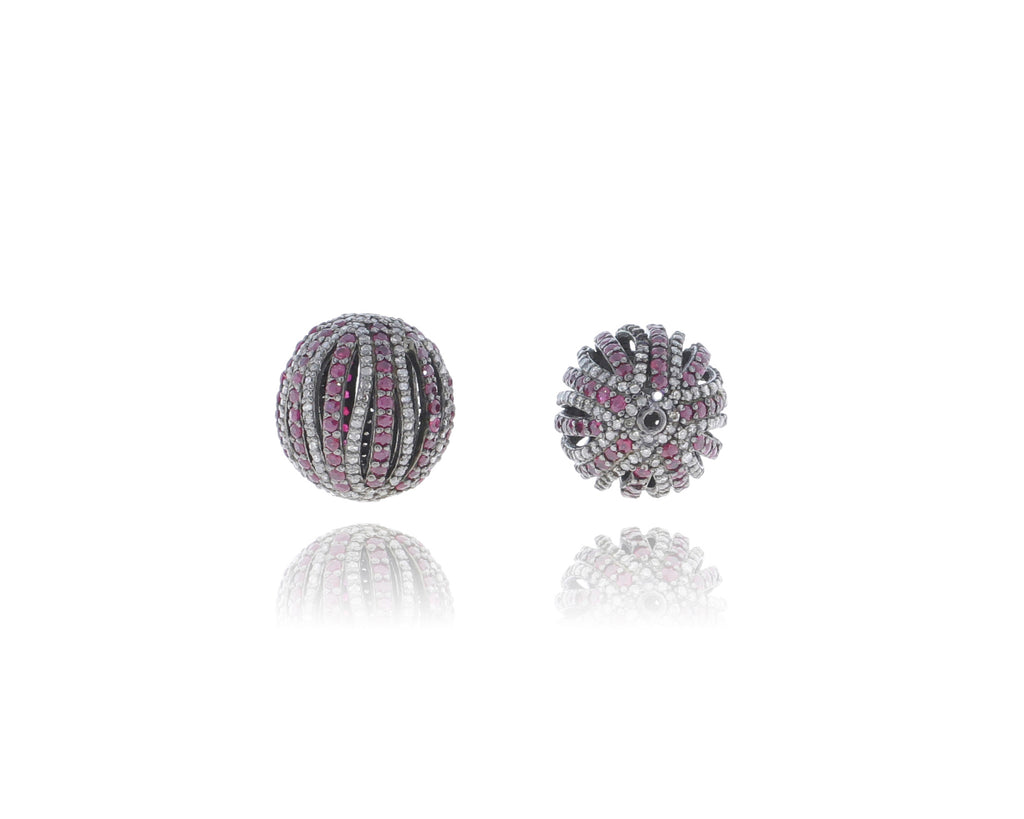 Oval Designer Silver Pave Diamond and Ruby Beads